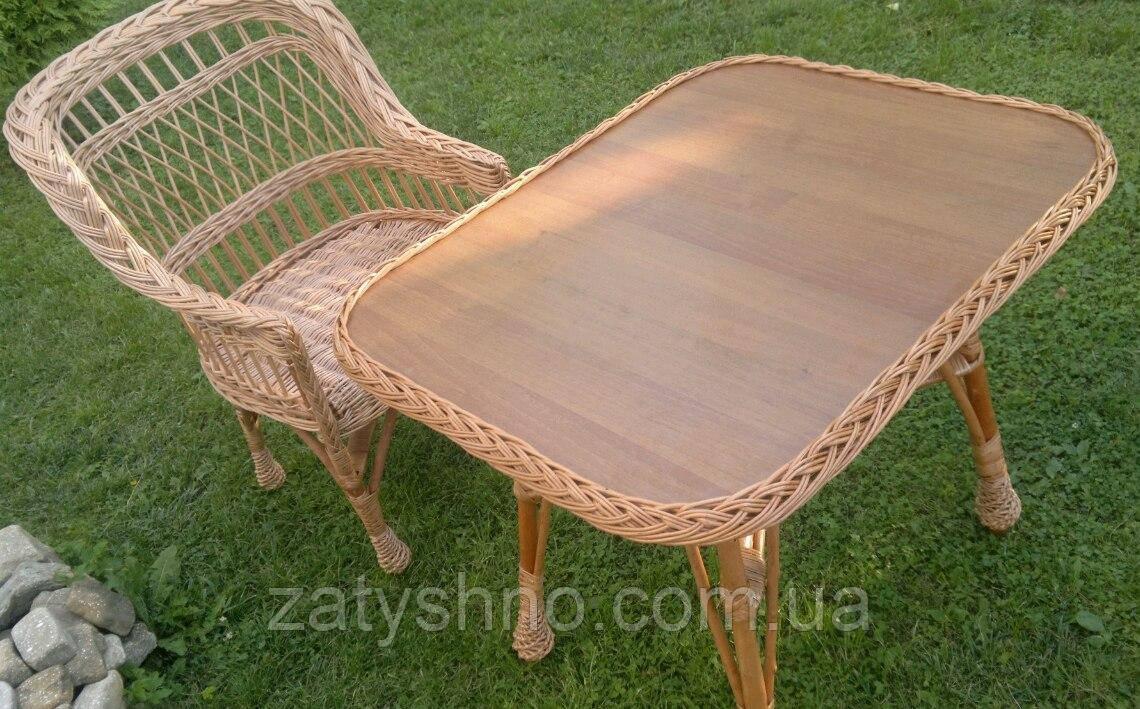 Комплект плетеной мебели кресло+столик из лозы