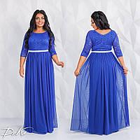 Красивое женское платье в пол из стрейч гипюра и с юбкой из евро сетки 50-52, 54-56