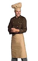 Комплект повара (китель + фартук + колпак) коричневый с бежевым Atteks - 00983