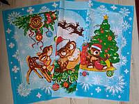 """Подарочный набор полотенец """"Новогодний мишка"""", голубые, фото 1"""
