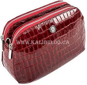 Розпродаж! Жіночий шкіряний бордовий клатч Karya під крокодила 0810-08 Туреччина