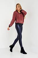 Облегающие женские кожаные брюки с полоской