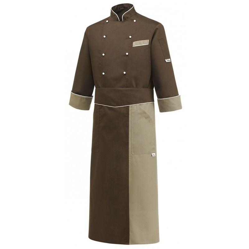 Комплект повара (китель + фартук) коричневый с бежевым Atteks - 00984