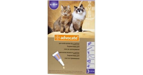 ADVOCATE (АДВОКАТ) капли от блох для котов весом от 4 до 8 кг, 1 пипетка