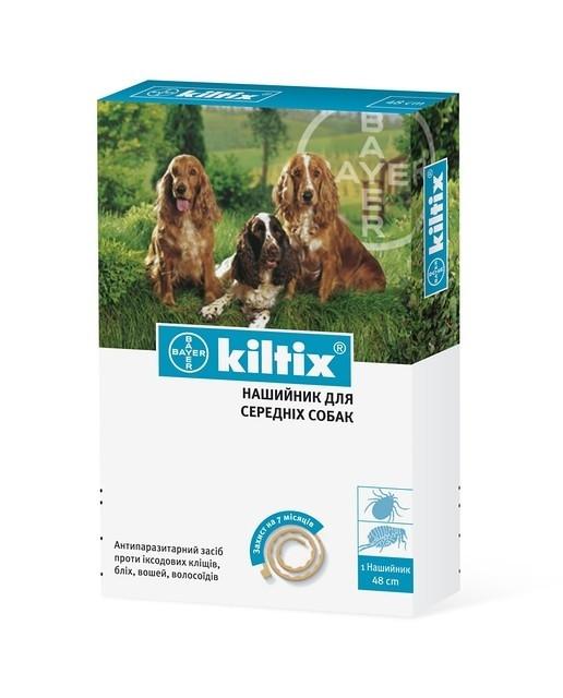 KILTIX (КИЛТИКС) ошейник от блох и клещей для средних пород собак длина 48 см
