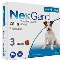 NEXGARD (НЕКСГАРД) таблетки від бліх та кліщів для собак вагою від 4 до 10 кг, 1 таб.