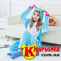 Пижама Единорог радужный кигуруми. Голубого цвета