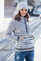 Теплый вязаный свитер с карманом Кенгуру Размер универсальный 44-52