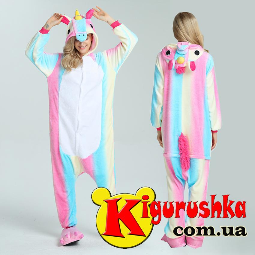 Единорог - Светлая радуга пижама кигуруми для взрослых - Интернет-магазин