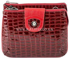 Розпродаж! Жіночий шкіряний бордовий клатч Karya під крокодила 0681-08 Туреччина
