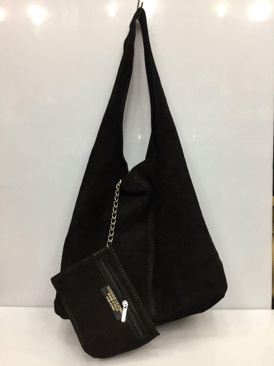 2ddfac6aae2d Сумка-мешочек женская модная полностью из натуральной замши черная на одной  длинной ручке Италия 2710
