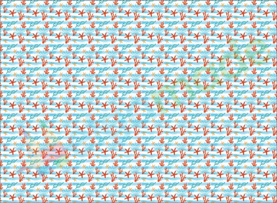 Фетр з принтом МОРСЬКІ МОТИВИ, 22x30 см, корейська м'який 1.2 мм