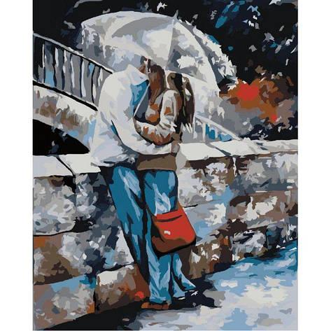"Картина по номерам. Люди ""Под дождем"" 40*50см KHO2658, фото 2"