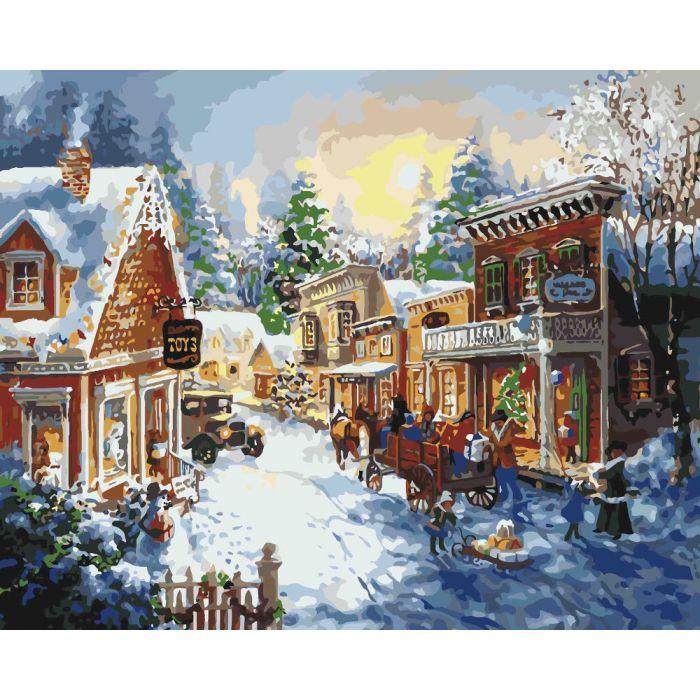 """Картина по номерам. Сельский пейзаж """"Накануне рождества"""" 40*50см KHO2247"""