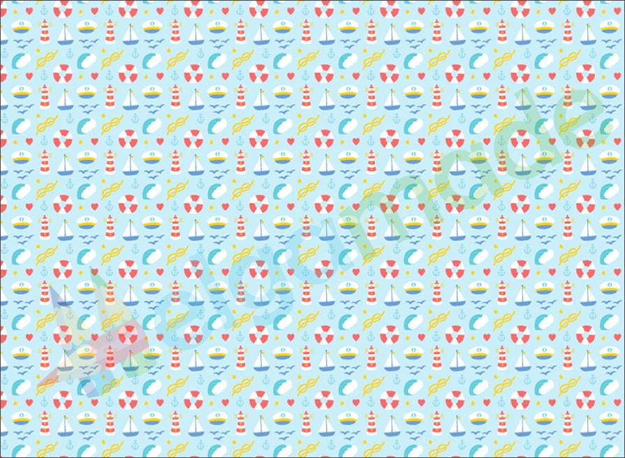 Фетр с принтом МОРСКИЕ МОТИВЫ 2, 22x30 см, корейский мягкий 1.2 мм