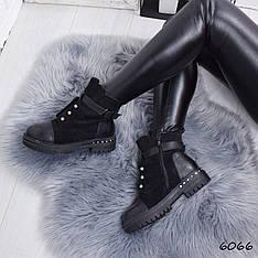 """Ботинки, ботильоны черные ЗИМА """"Irresistible"""" эко замша, повседневная, зимняя, теплая, женская обувь"""