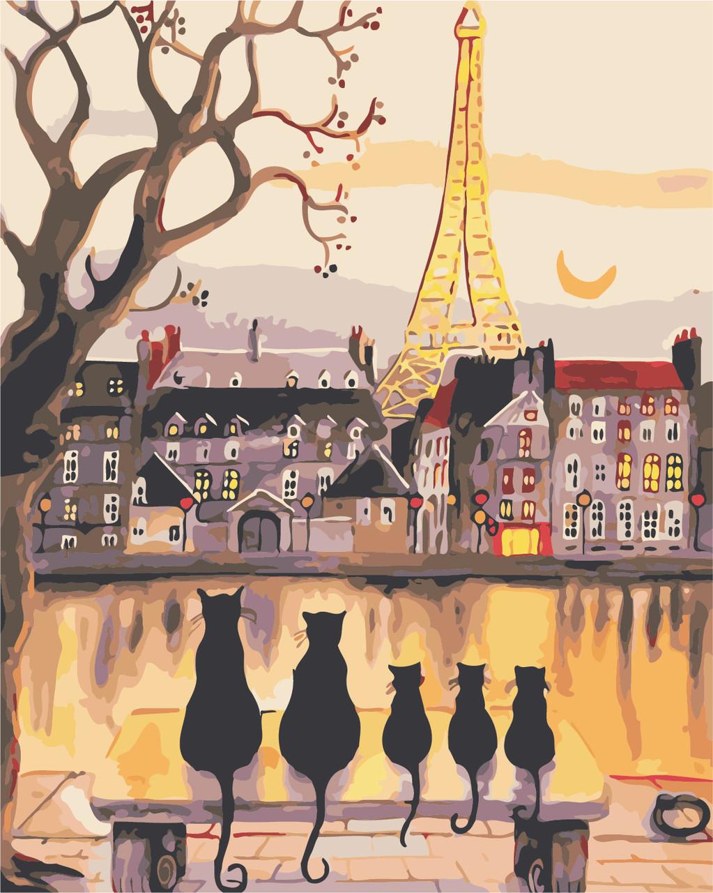 """Картина по номерам """"Парижские коты"""" 40*50см"""