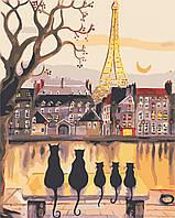 """Картина по номерам """"Парижские коты"""" 40*50см, фото 1"""