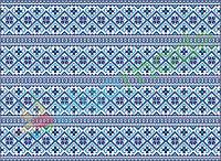 Фетр с принтом ЗИМНИЙ ОРНАМЕНТ СИНИЙ, 22x30 см, корейский мягкий 1.2 мм