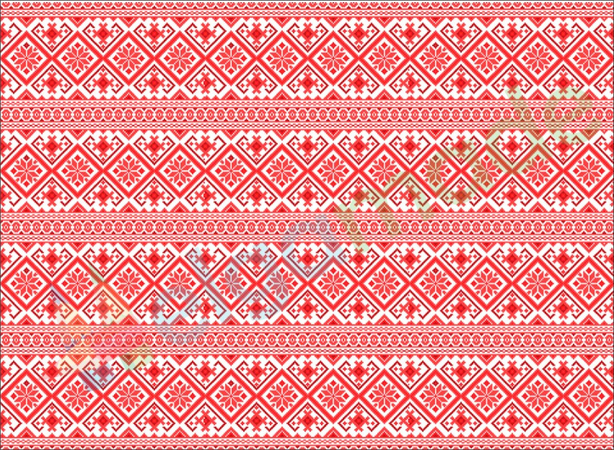 Фетр с принтом ЗИМНИЙ ОРНАМЕНТ СВЕТЛО-КРАСНЫЙ, 22x30 см, корейский мягкий 1.2 мм