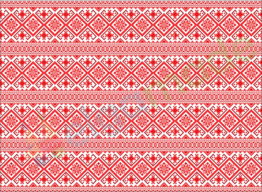Фетр з принтом ЗИМОВИЙ ОРНАМЕНТ СВІТЛО-ЧЕРВОНИЙ, 22x30 см, корейська м'який 1.2 мм
