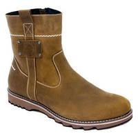 Тёплые зимние мужские коричневые сапоги (ботинки) из натуральной кожи на шерсти