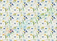 Фетр с принтом ЦВЕТЫ РОМАШКИ И ВАСИЛЬКИ, 22x30 см, корейский мягкий 1.2 мм