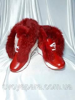 Женские зимние красные ботинки из натуральной кожи с опушкой из кролика
