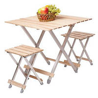 """Раскладной стол со стульями стол+2 стула большой, Комплект """"Alluwood"""""""
