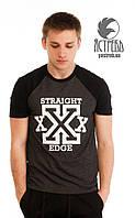"""Футболка """"Straight Edge"""" Черный-Антрацит"""