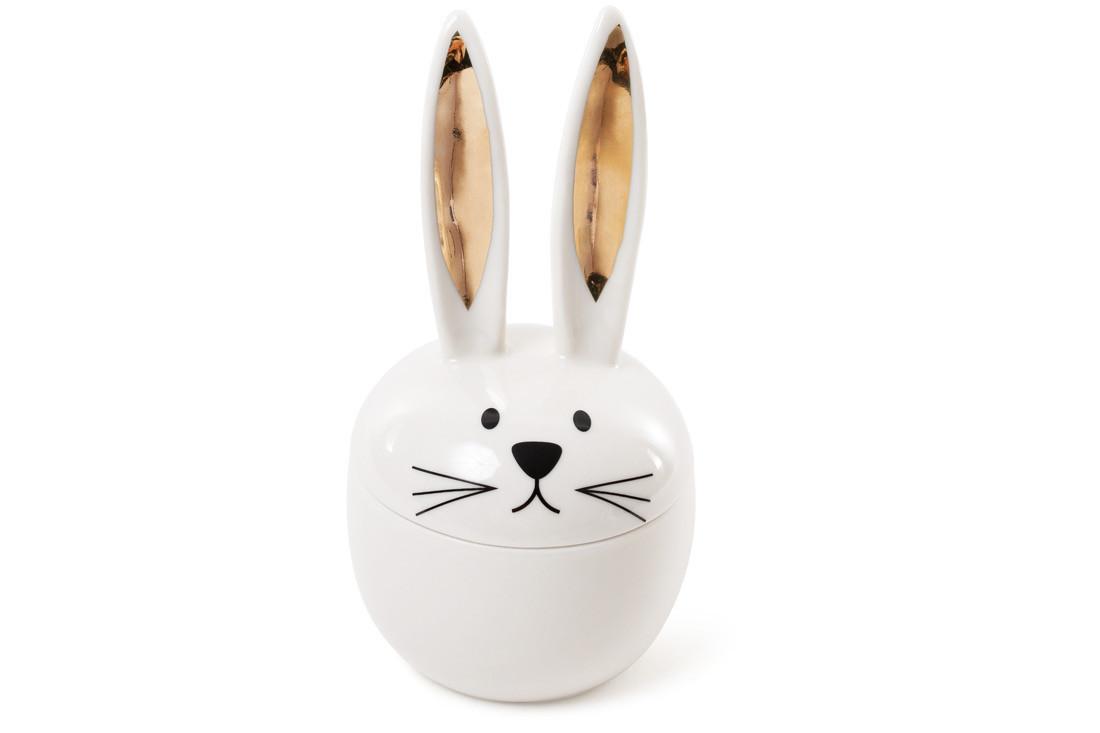 Шкатулочка фарфоровая Кролик с золотыми ушками 18,5см (727-139)