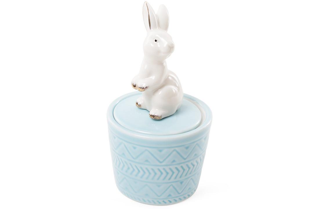 Шкатулочка фарфоровая Кролик 13.5см цвет - голубой (727-142)