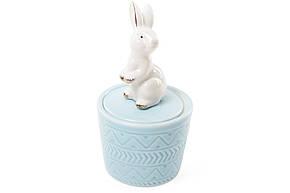 Шкатулочка фарфоровая Кролик 13.5см цвет - голубой (727-142), фото 2