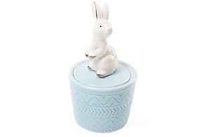 Шкатулочка порцеляновий Кролик 13.5 см колір - блакитний (727-142)