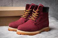 Зимние ботинки на меху Timberland 6 Premium Boot, бордовые (30665),  [  36 37 38 39 40  ]