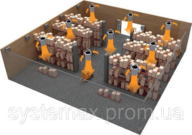 Пример монтажа на складе дестратификатора ВЕНТС ДРФИ-ОВ 350
