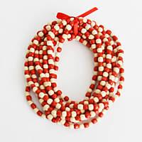 Бусы деревянные красно-белые 10 нитей, фото 1