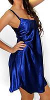 Эффектный женский синий пеньюар, сорочка шелк, ночнушка, женская ночная рубашка для сна в розницу и оптом.
