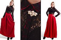 Платье в пол из костюмной ткани с гипюром( в расцветках) 300
