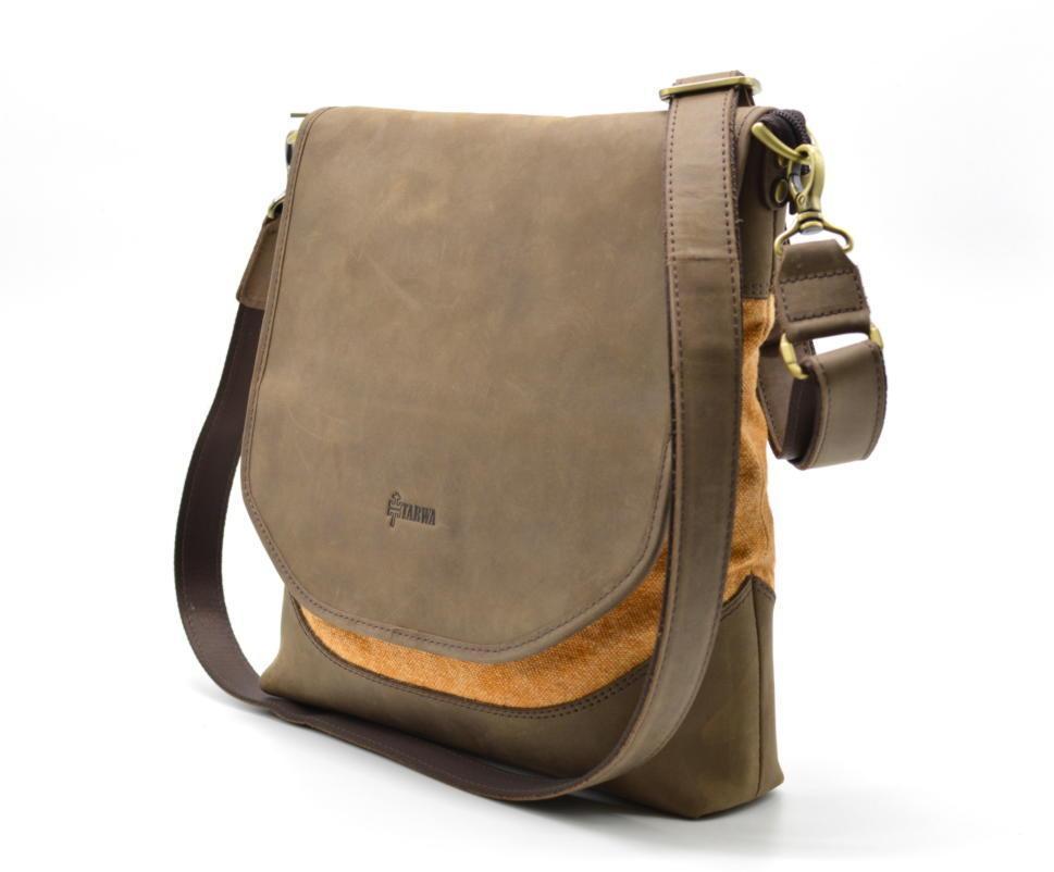 Чоловіча сумка через плече шкіра+парусина RY-18072-4lx бренду TARWA