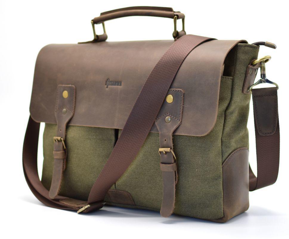 Мужская сумка-портфель кожа+парусина RC-3960-H от украинского бренда TARWA