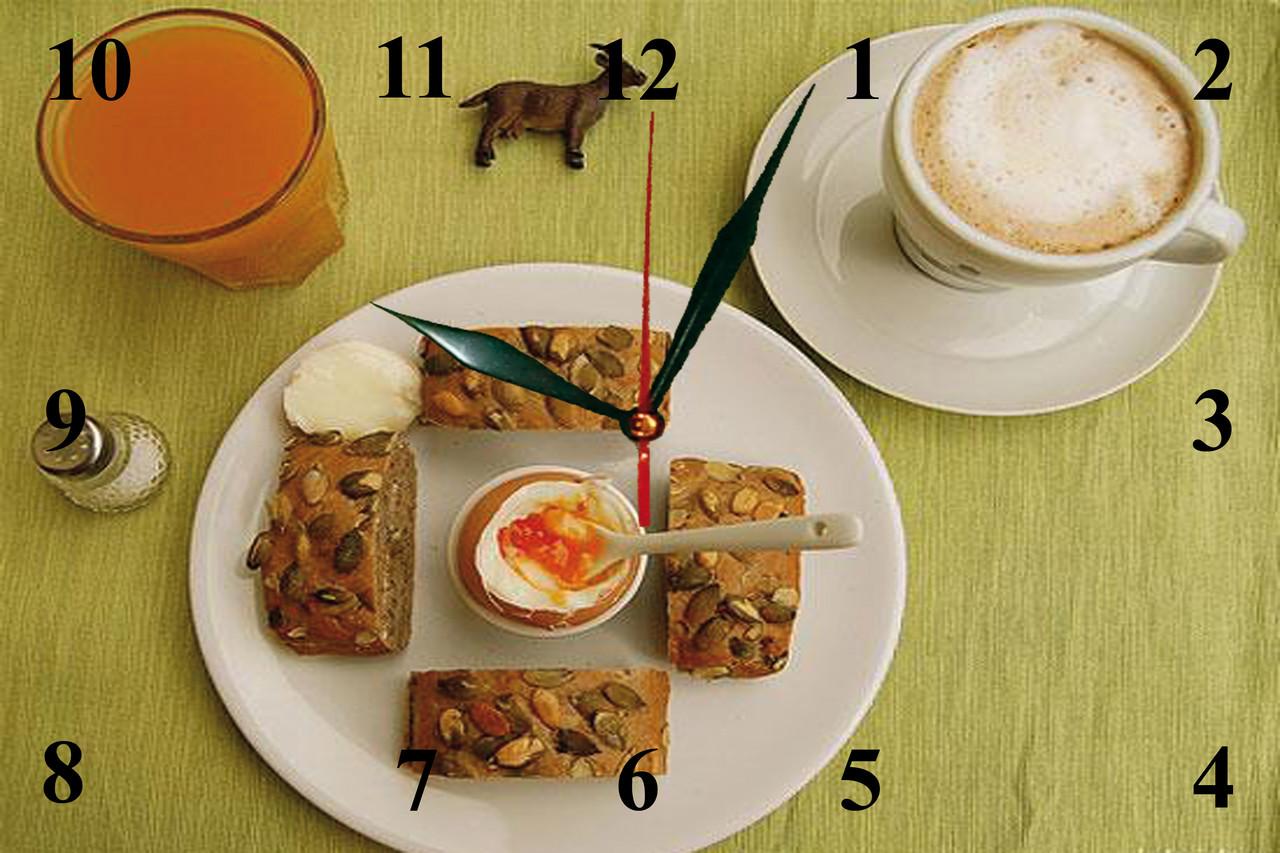 """Настенные часы МДФ кухонные """"Завтрак""""  кварцевые"""