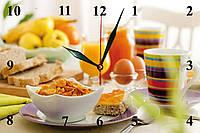 Настенные часы на стекле кухонные кварцевые Легкий завтрак