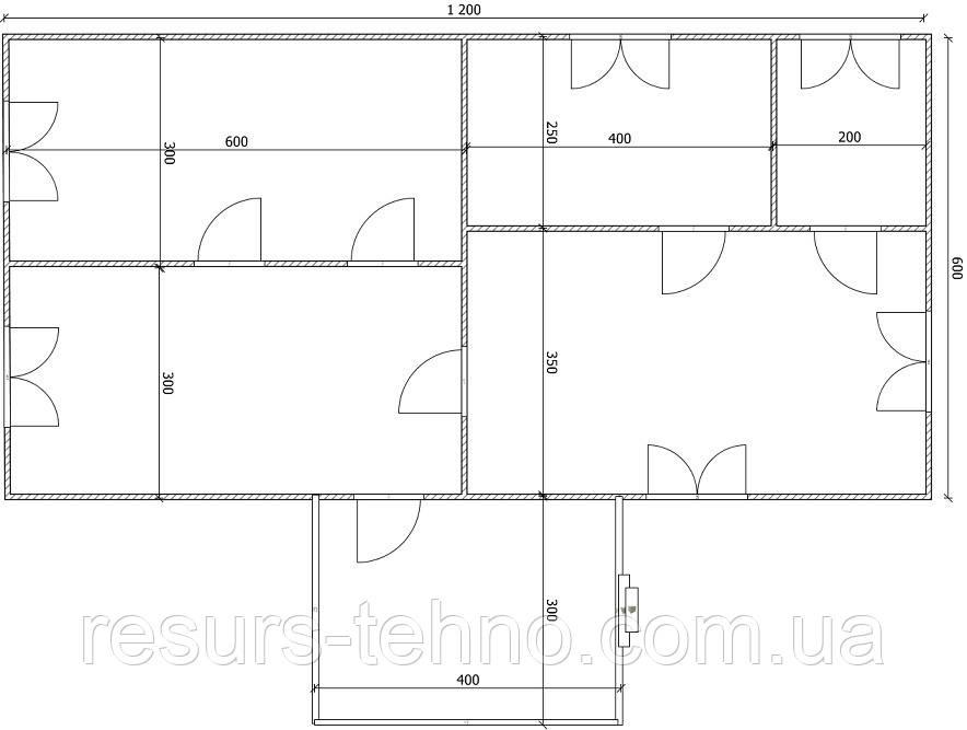 Дом 12м х 6м с терассой 3м х 4м