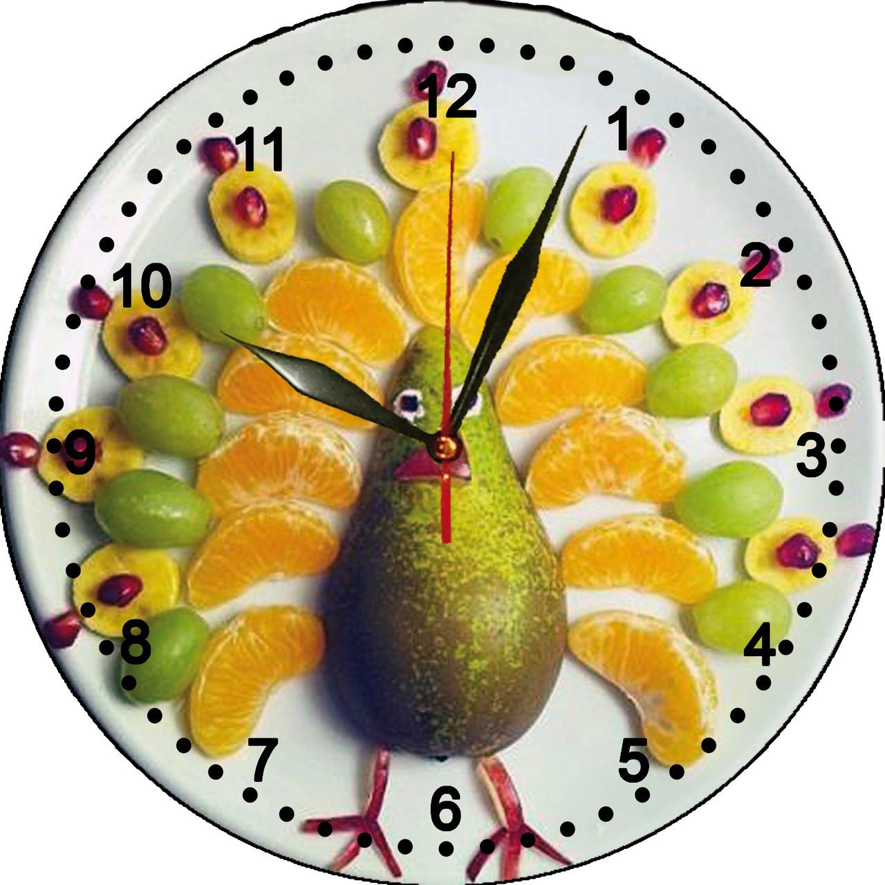 """Настенные часы МДФ кухонные кварцевые """"Фруктовая пава"""""""