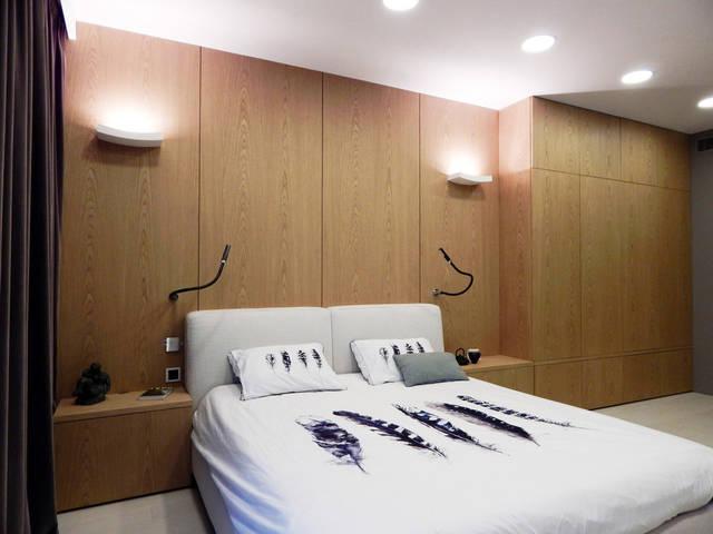 Панели из натурально шпона, шкаф и прикроватные тумбы