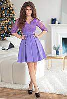Нарядное фиолетовое женское платье Барби вышитое шикарным кружевом. Арт-7505/7, фото 1