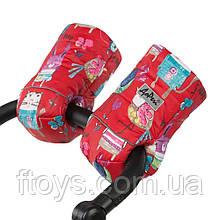 Тёплая двойная муфта на коляску и сани ДоРечи 100% овечья шерсть Малюнки на червоному фоні
