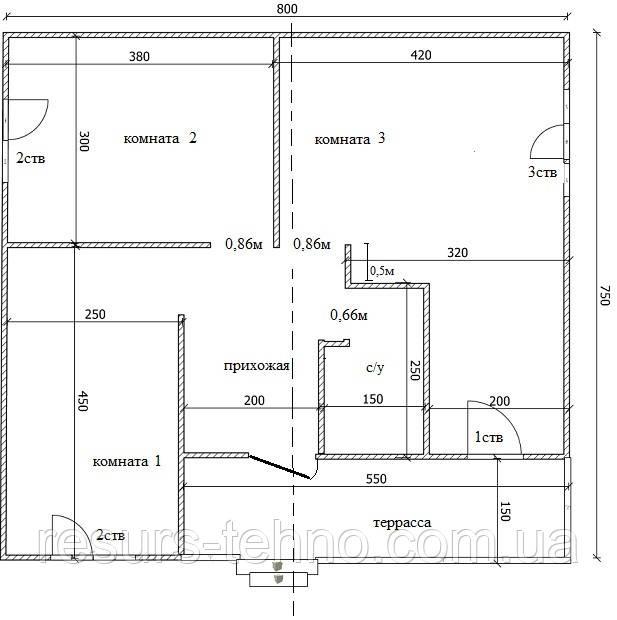 Дом 8м х 7,5м с внутренней терассой