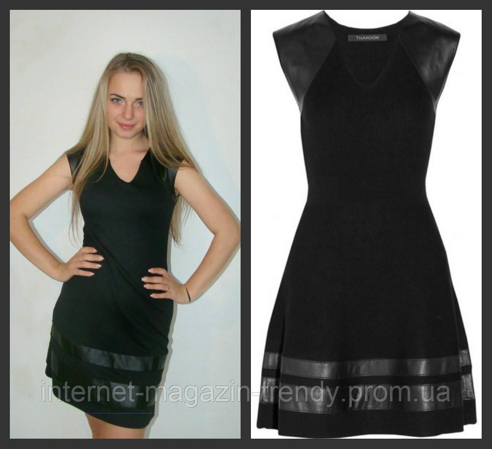 Платье мини с вставками из экокожи в черном цвете 310